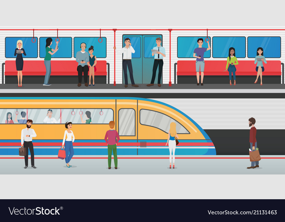 Subway inside with people and metro platform with