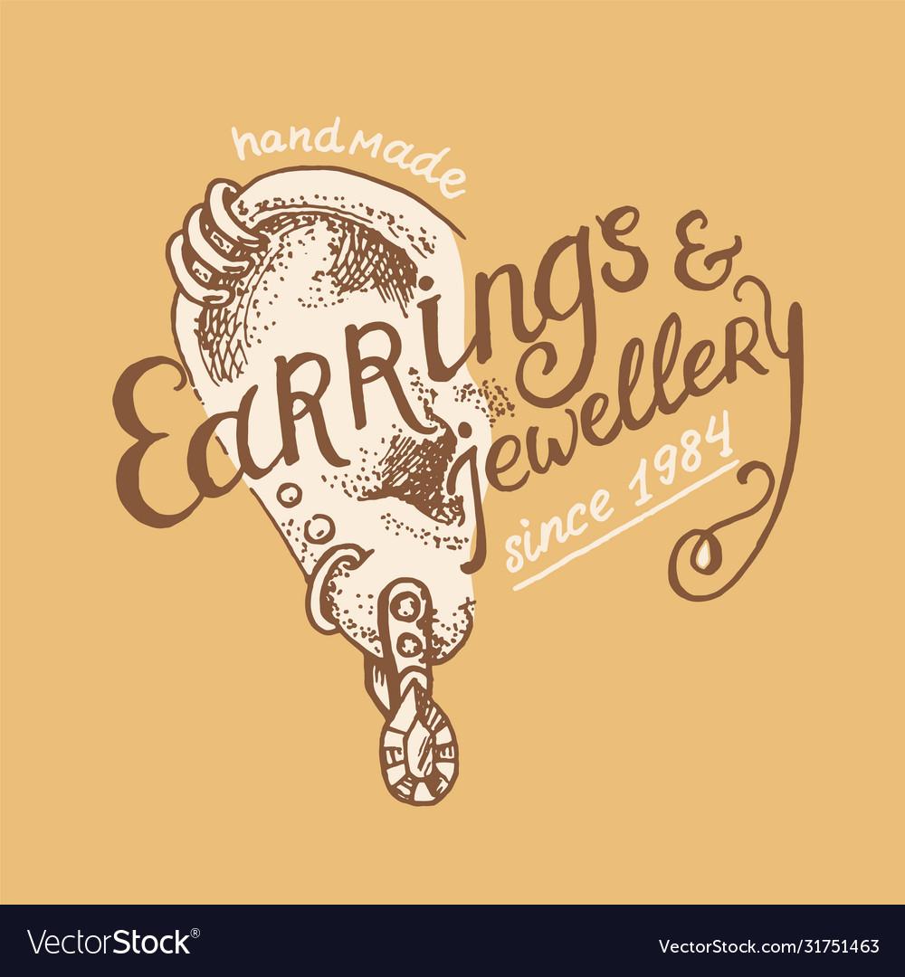 Vintage earring label women s jewelry shop badge