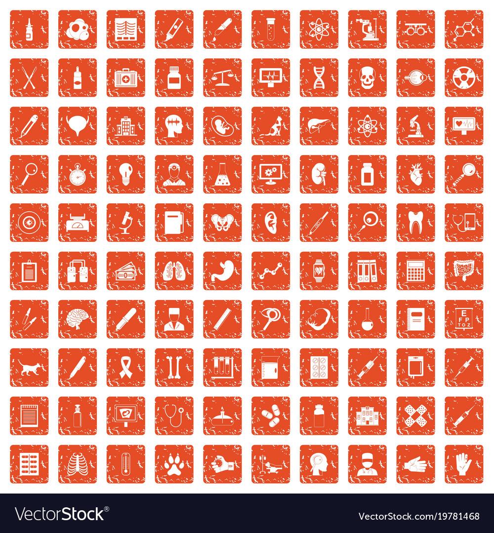 100 diagnostic icons set grunge orange vector image