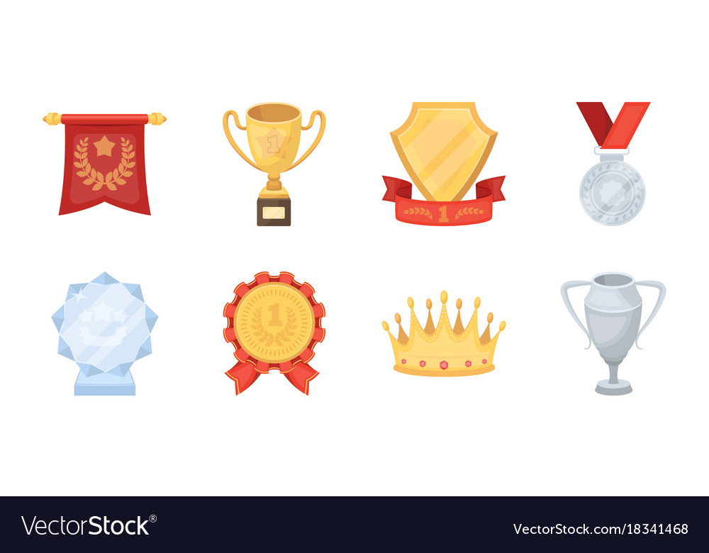 Awards and prizes icons in set collection for