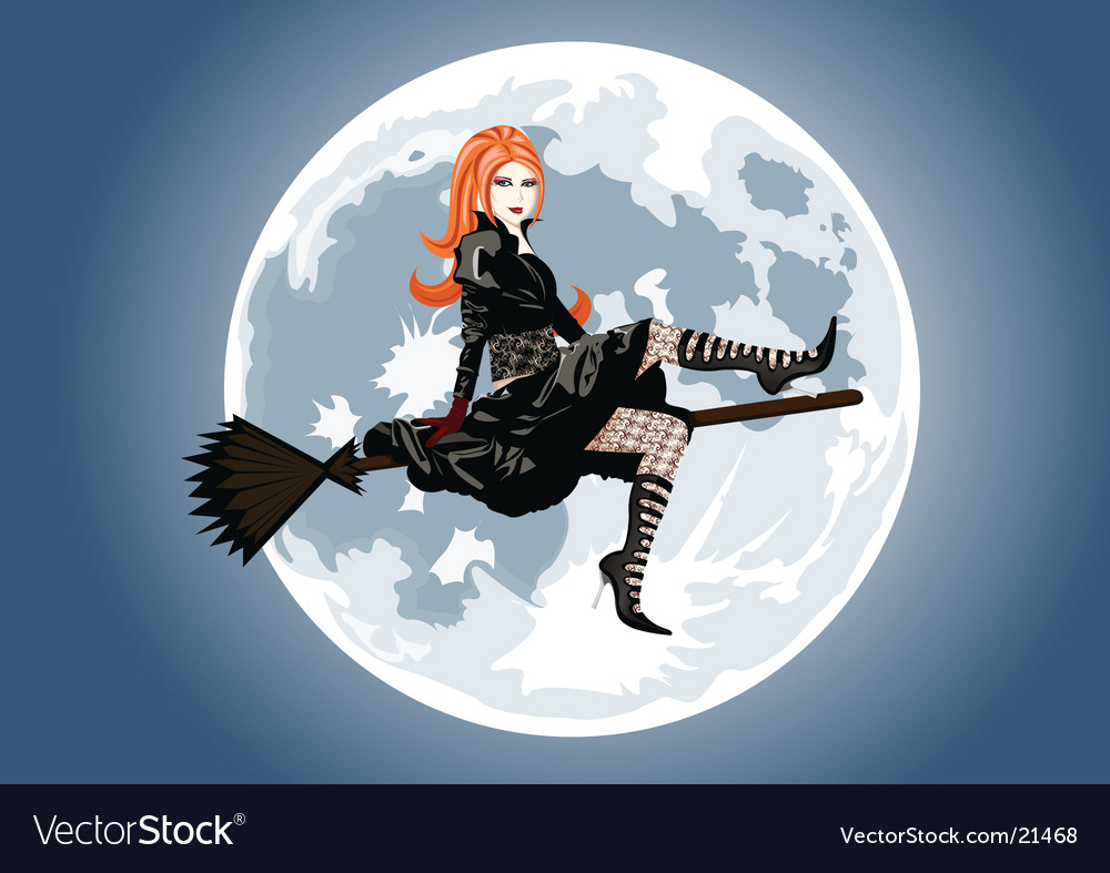 Beautiful witch sitting on broom