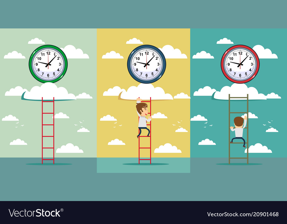 Businessman and time set with adult office worker