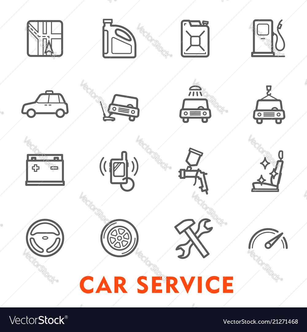 Car service thin line icon for auto repair station