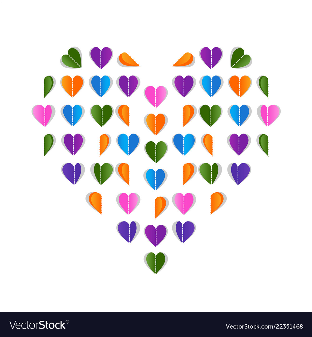 Folded paper hearts valentines day card colorful