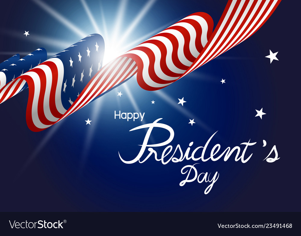 Presidents day design of american flag with light