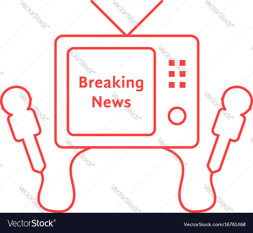 Thin line breaking news with red tv icon vector image