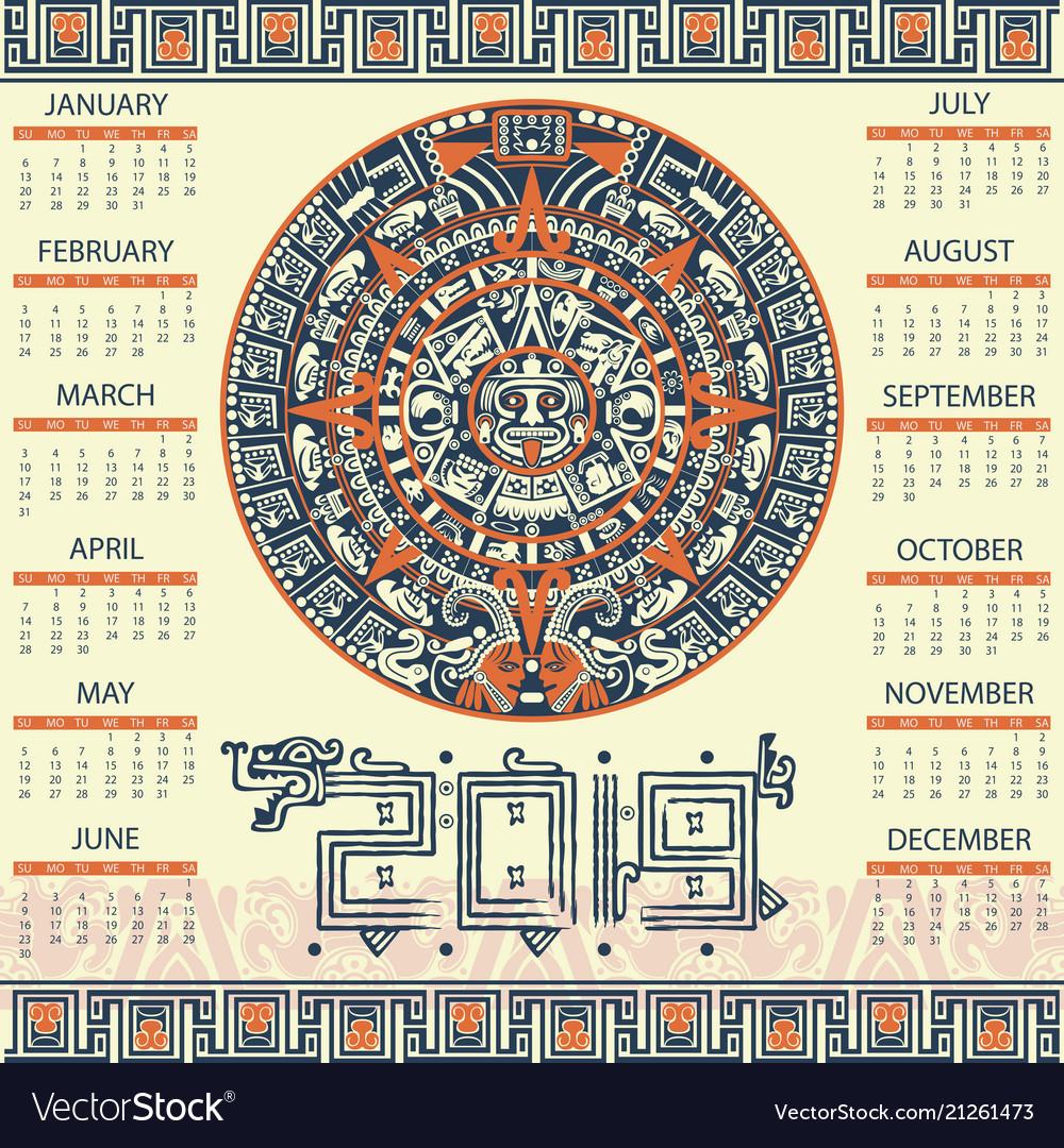 Mayan Calendar 2019 Aztec calendar 2019 Royalty Free Vector Image   VectorStock