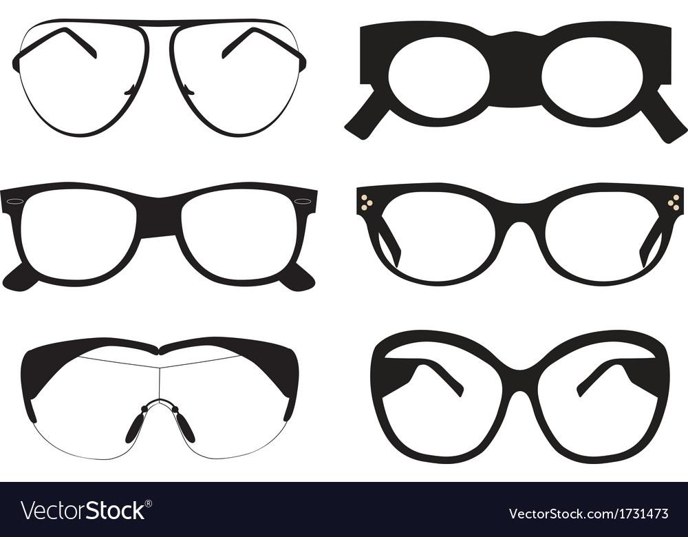 Black sunglasses icons vector image