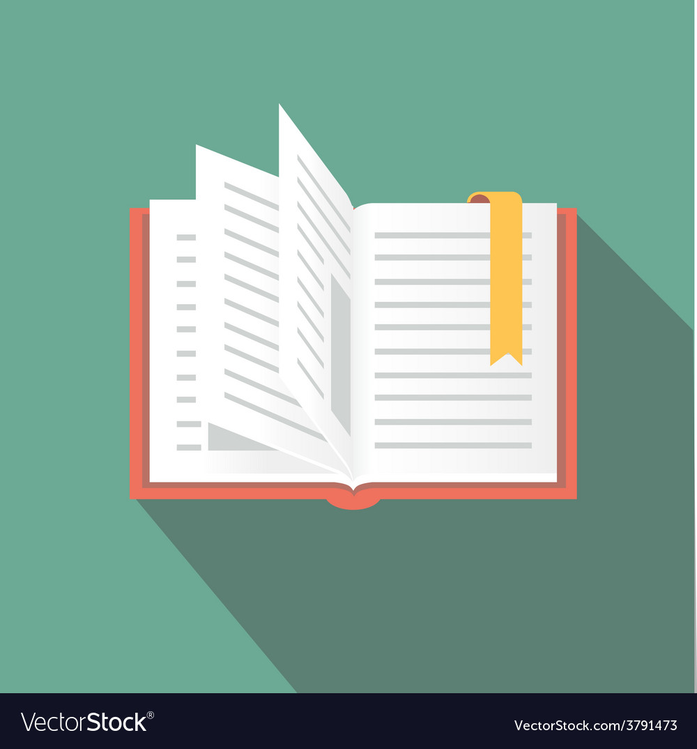 Book icon in flat style with long shadow vector image