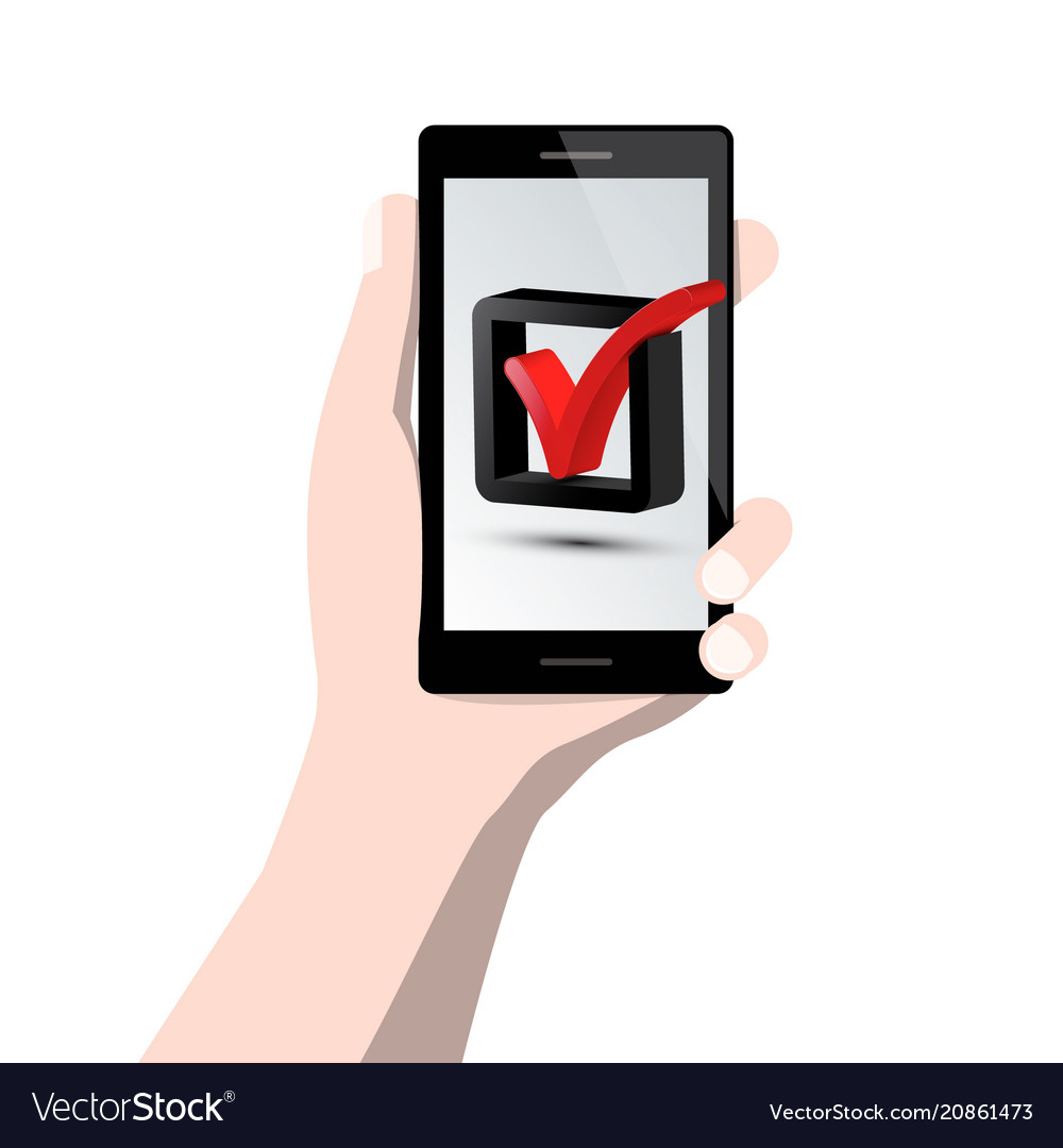 Check Mark Symbol On Mobile Phone Screen In Human Vector Image
