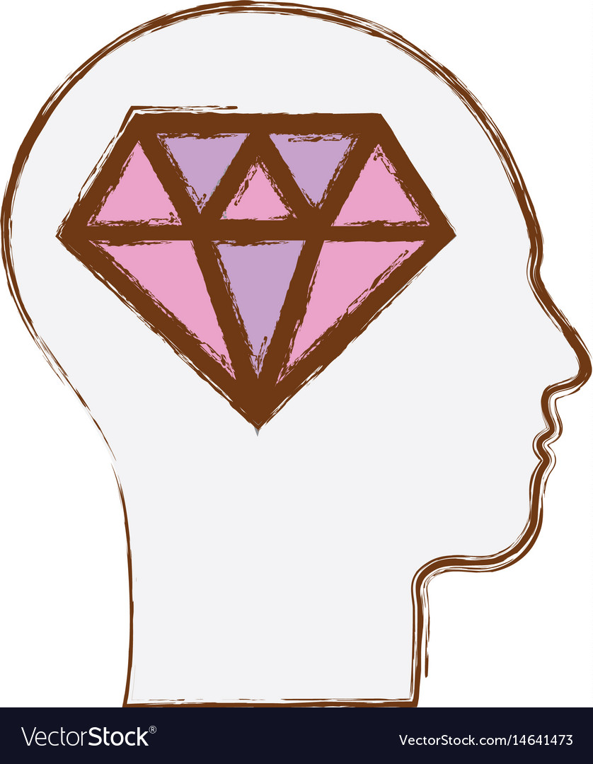 Line silhouette head with diamond inside vector image