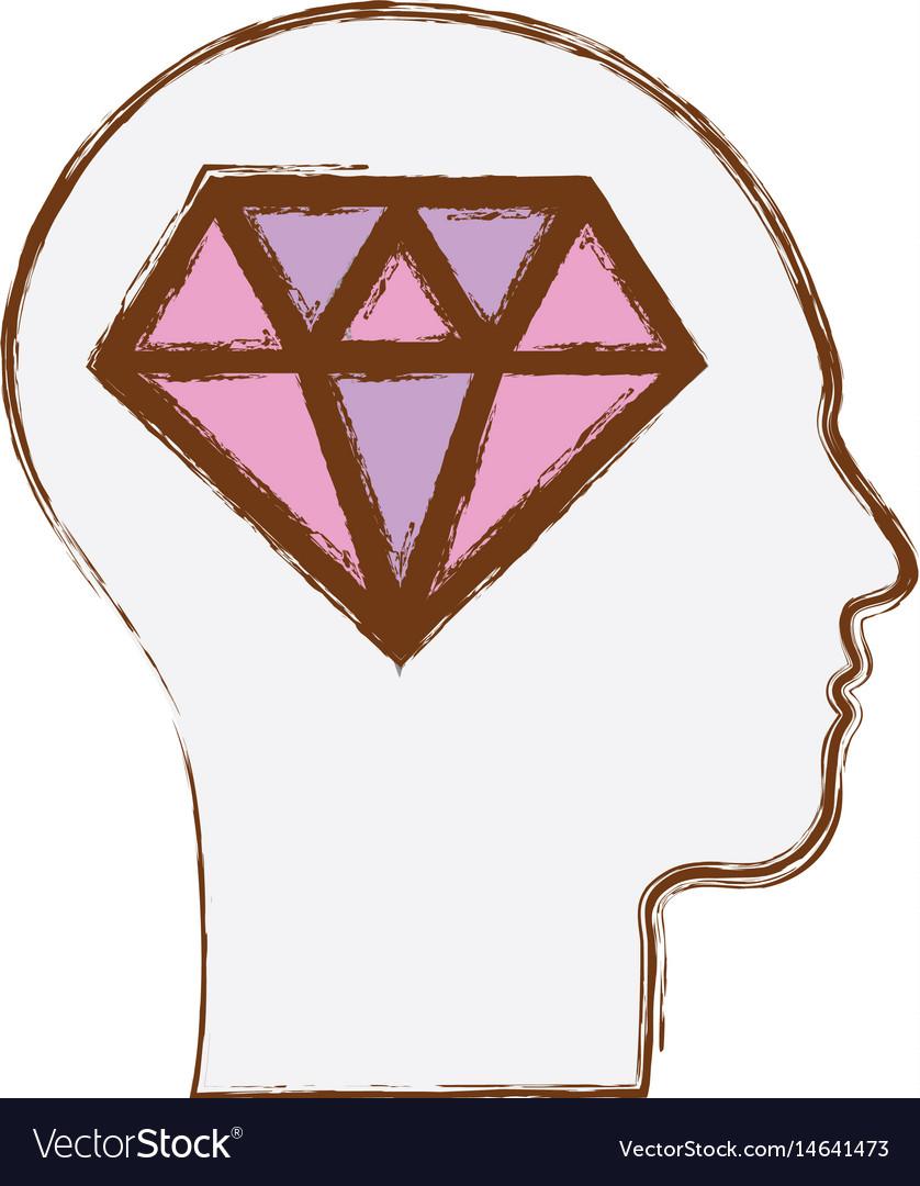 Line silhouette head with diamond inside