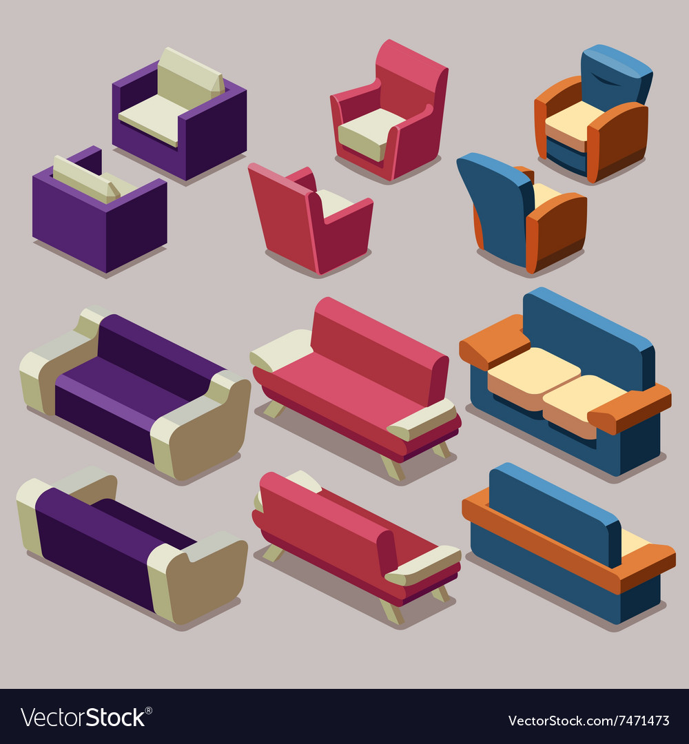 Living room isometric furniture set Sofa