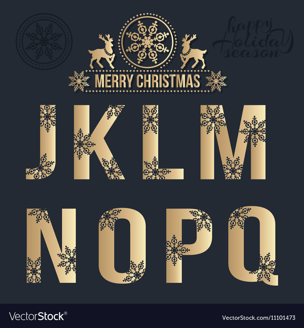 Set of Christmas golden alphabet with snowflakes
