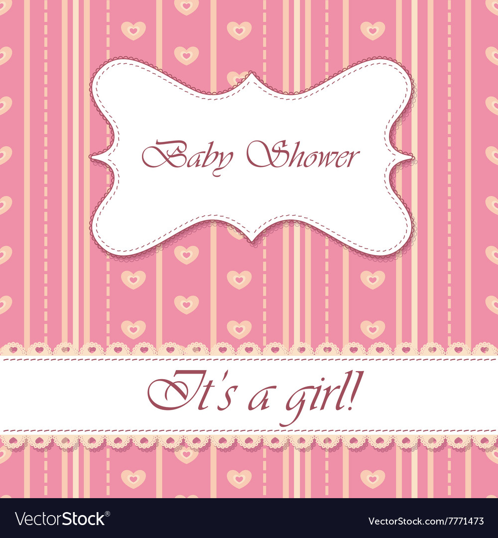 Striped Background Baby Shower Girl Royalty Free Vector