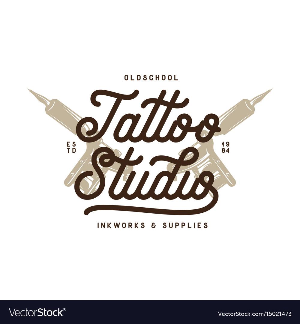 Tattoo studio typography emblem vintage