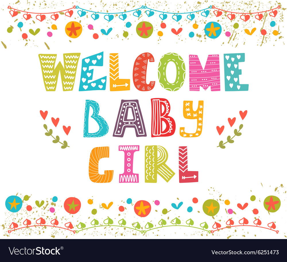 Welcome baby girl Baby girl arrival card Baby girl