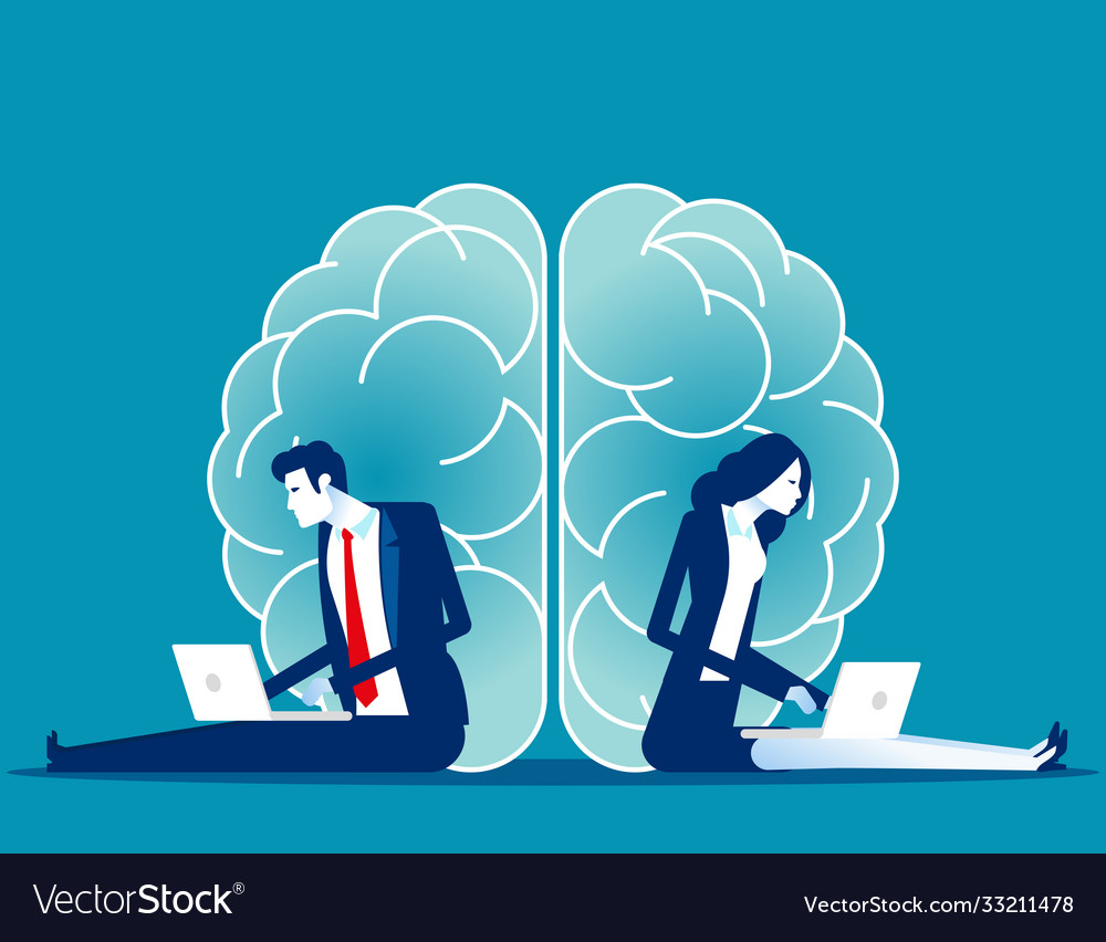 Business brainstorming two sides brain