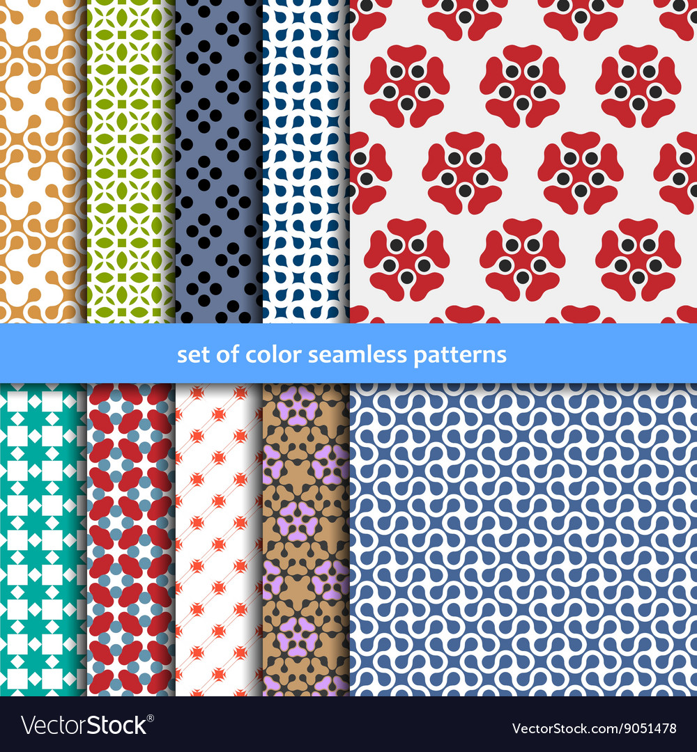 Colored patterns collection for seamless