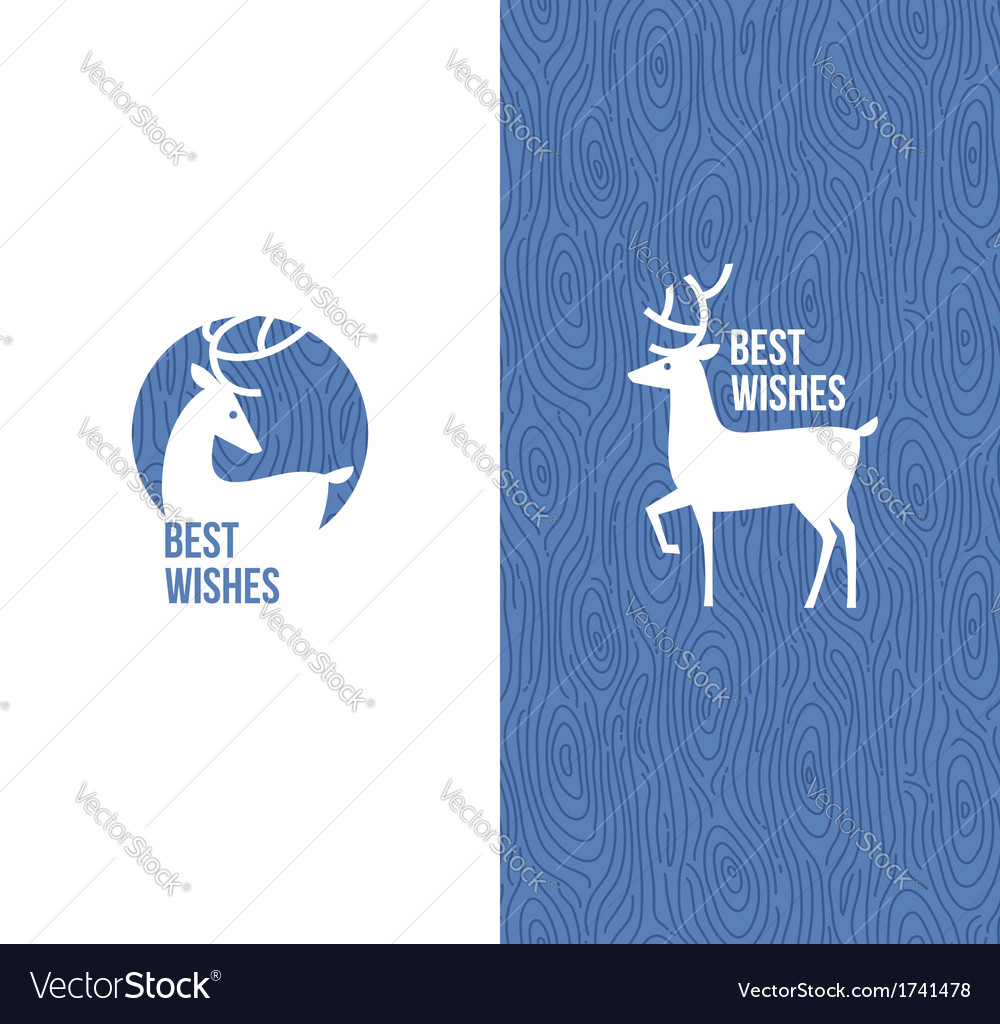 Deer on retro wooden blue background