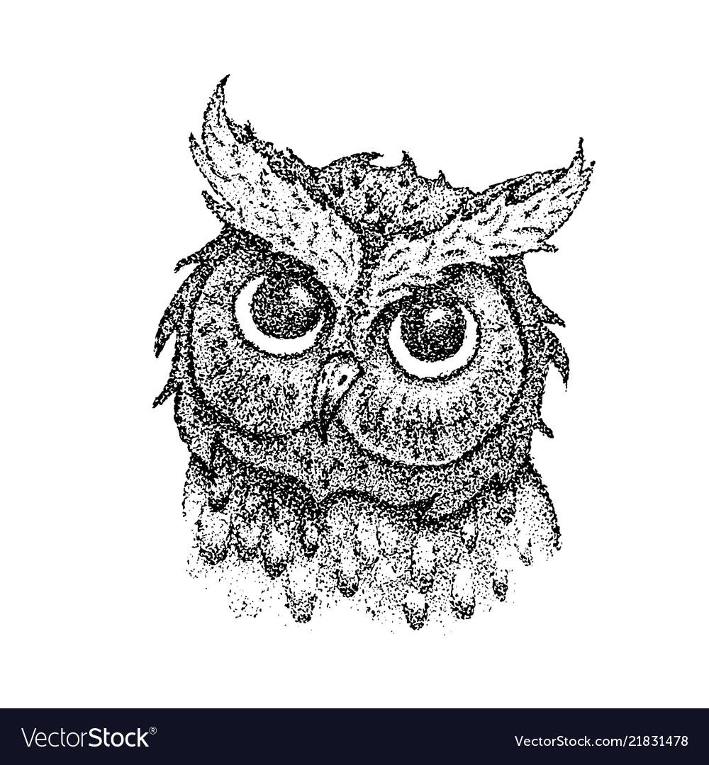 Dotwork owl head