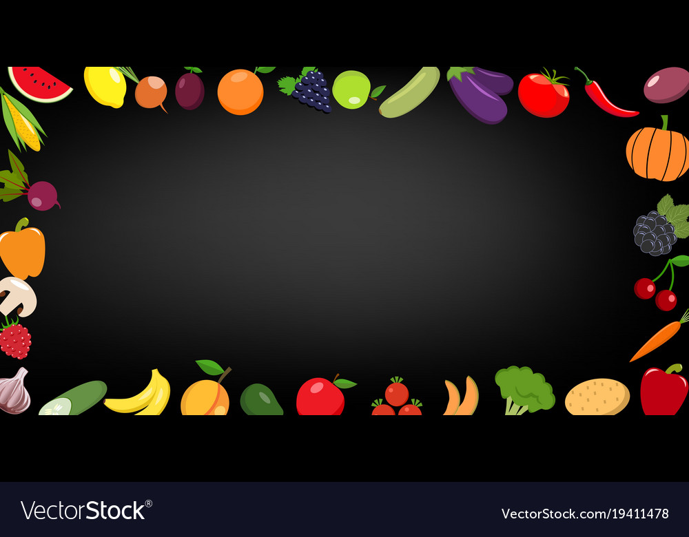 Frame of organic food fresh raw vegetables with vector image