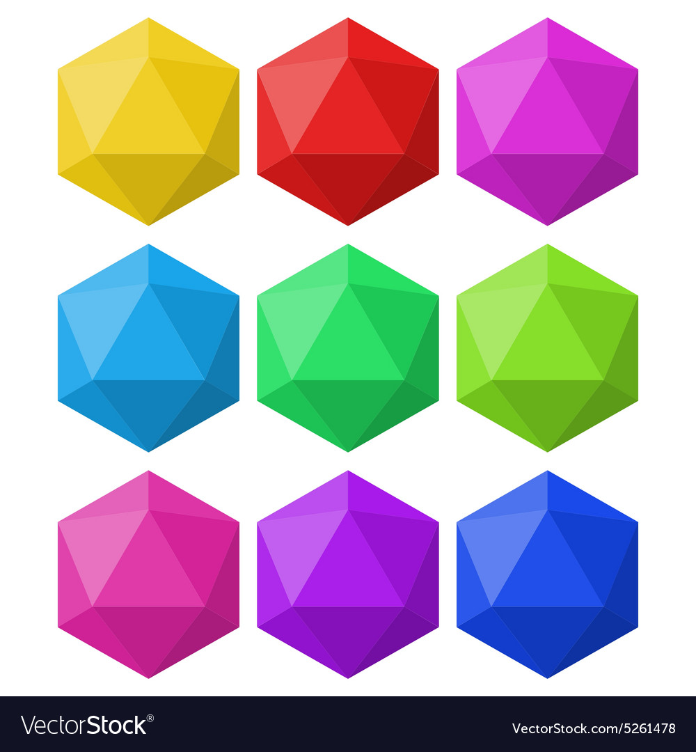Icosahedron in different colors for design and