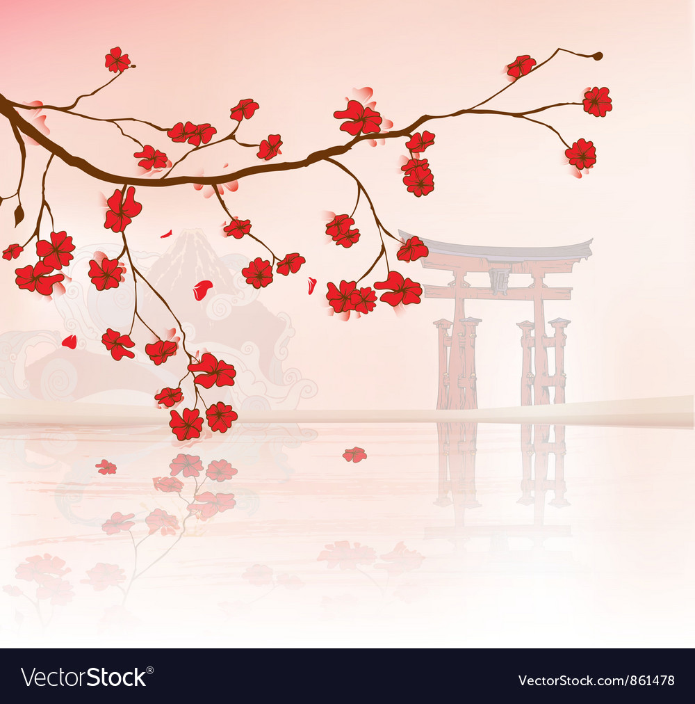 Japanese Floral Background Royalty Free Vector Image