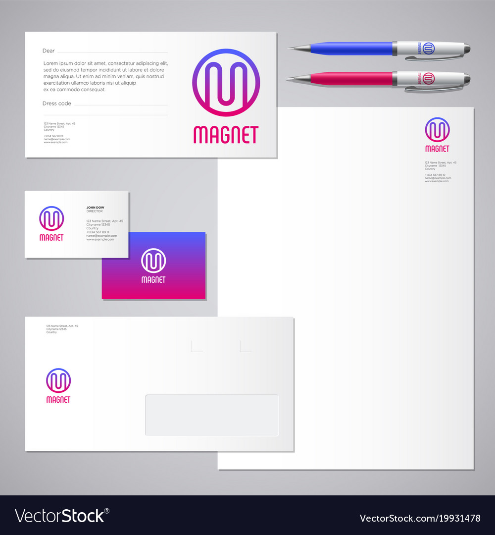Magnet logo m letter identity business card Vector Image