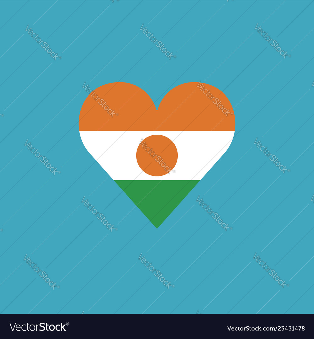 Niger flag icon in a heart shape in flat design
