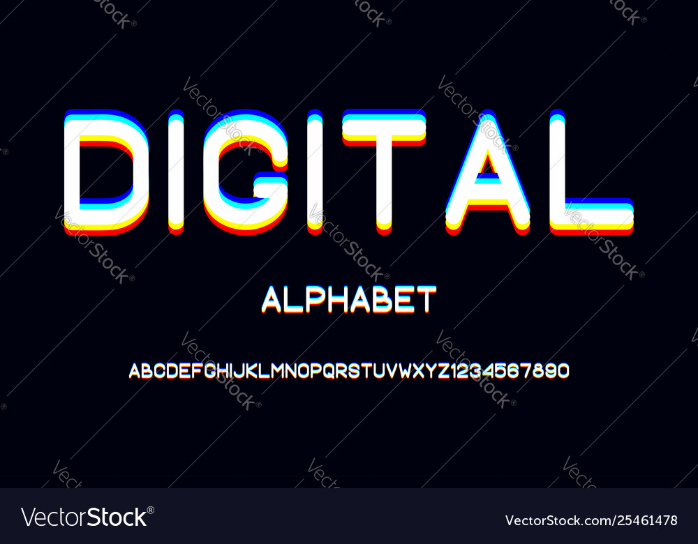 Overlap glitch font rounded color alphabet with
