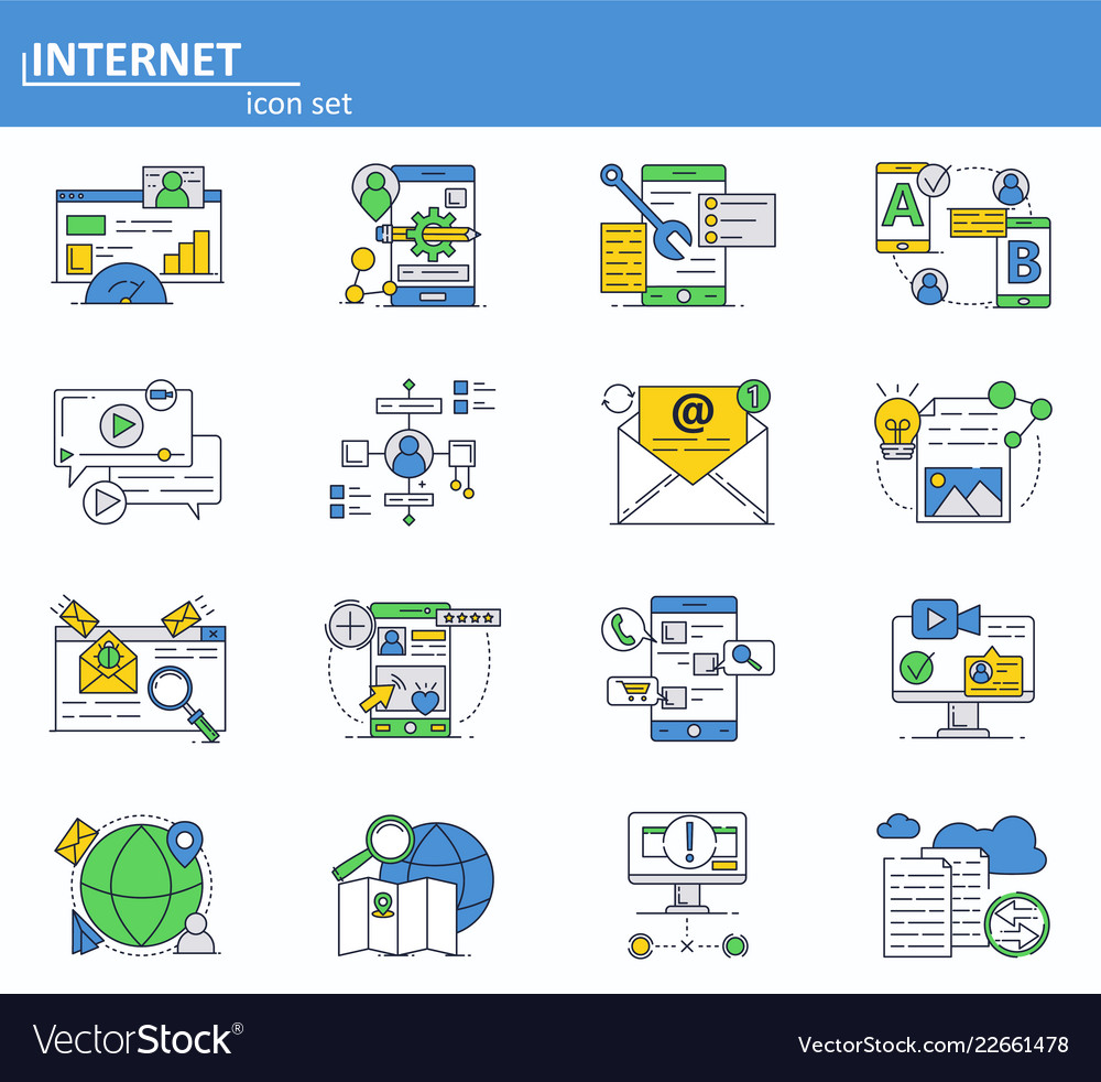 Set internet online services icons in