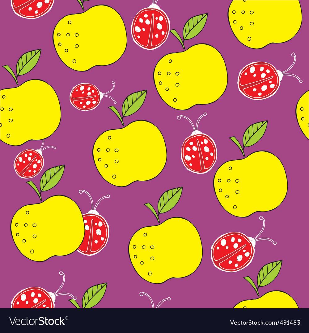 Apple and ladybird pattern