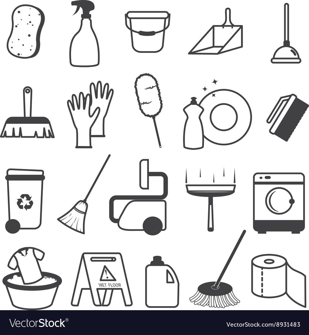 Basic Cleaning Tools Icons Set