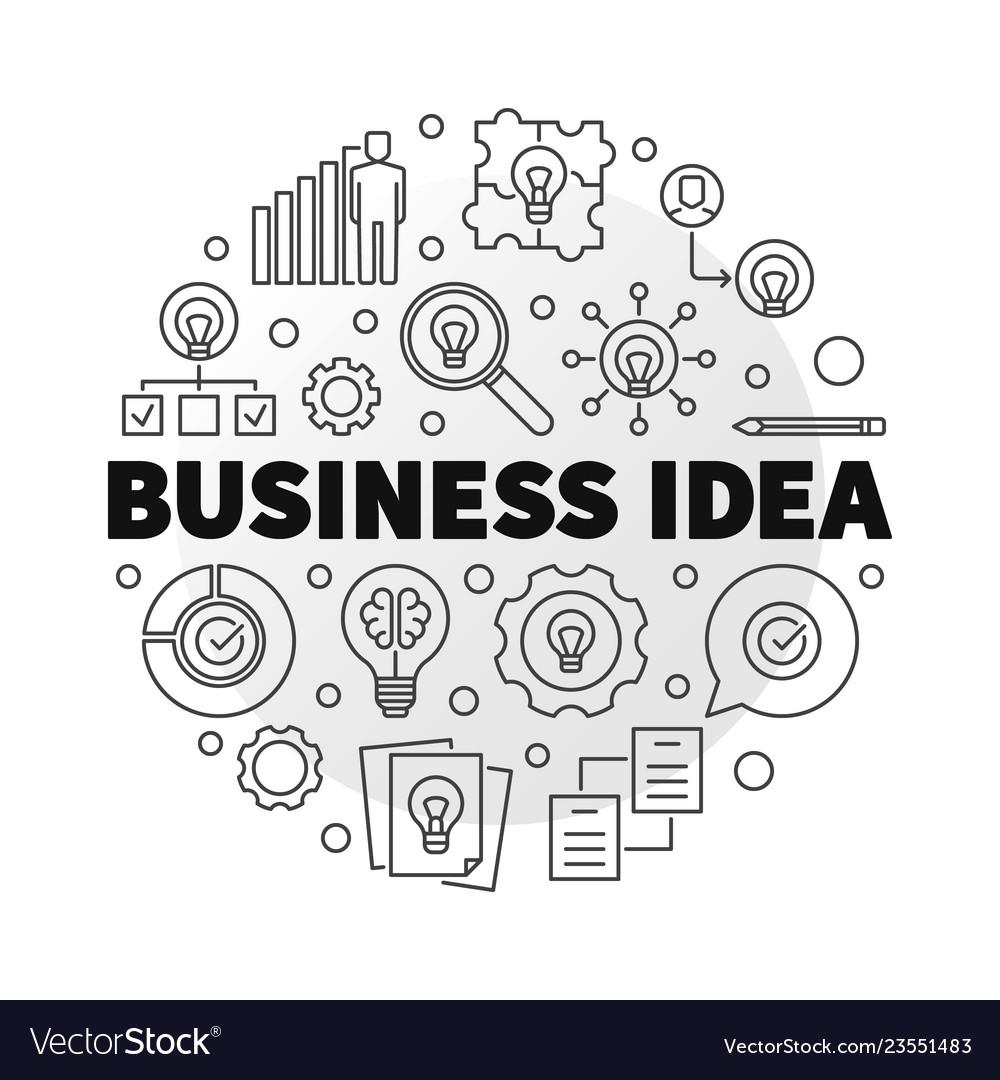 Business idea concept circular outline