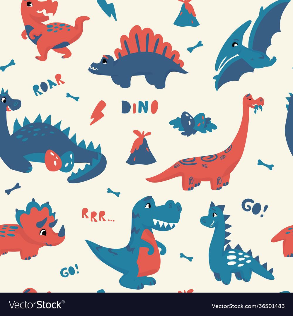 Cute dinosaur pattern seamless texture