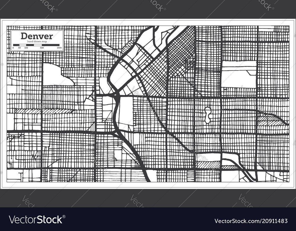 Denver Usa City Map In Retro Style Outline Map Vector Image