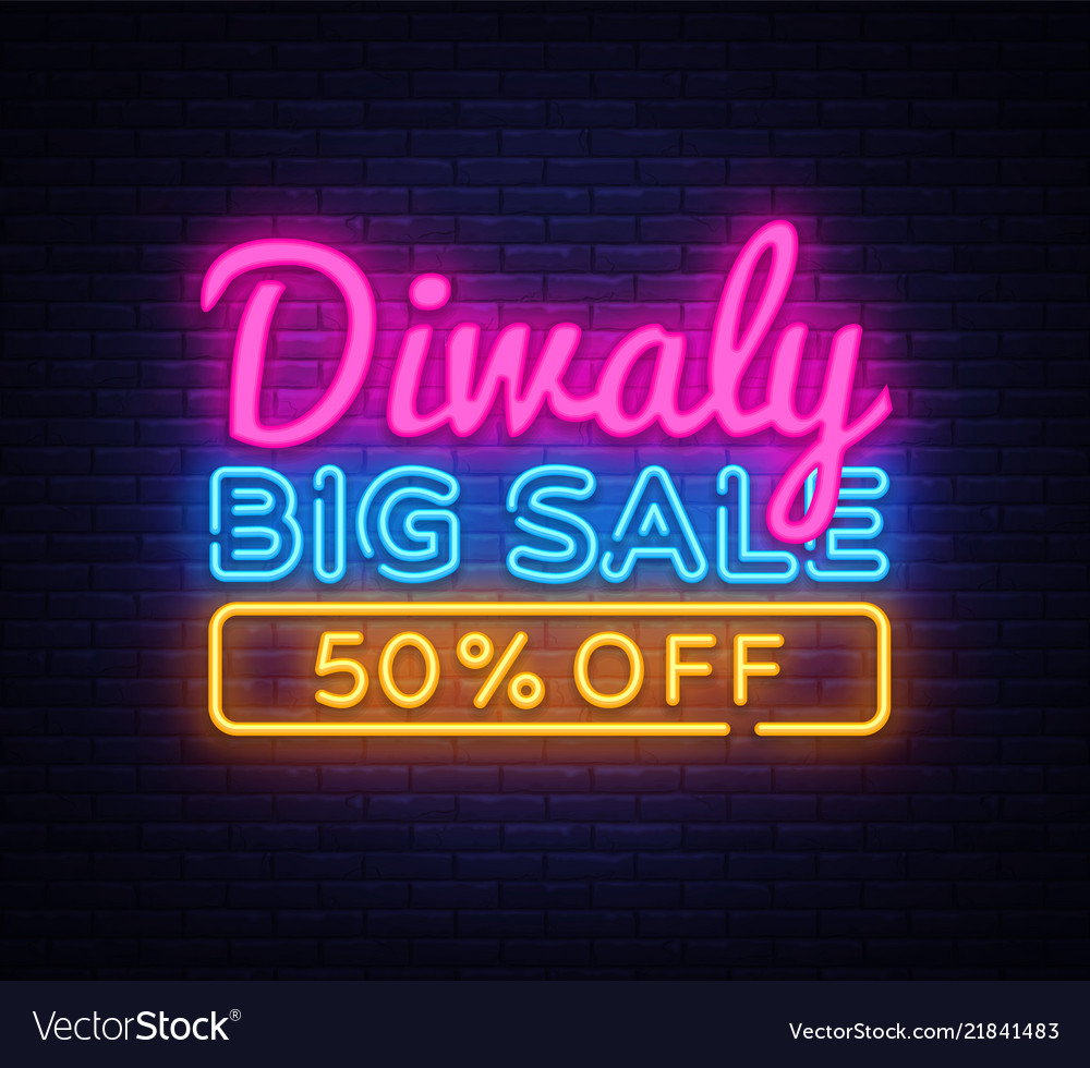 Diwali festival offer big sale neon text