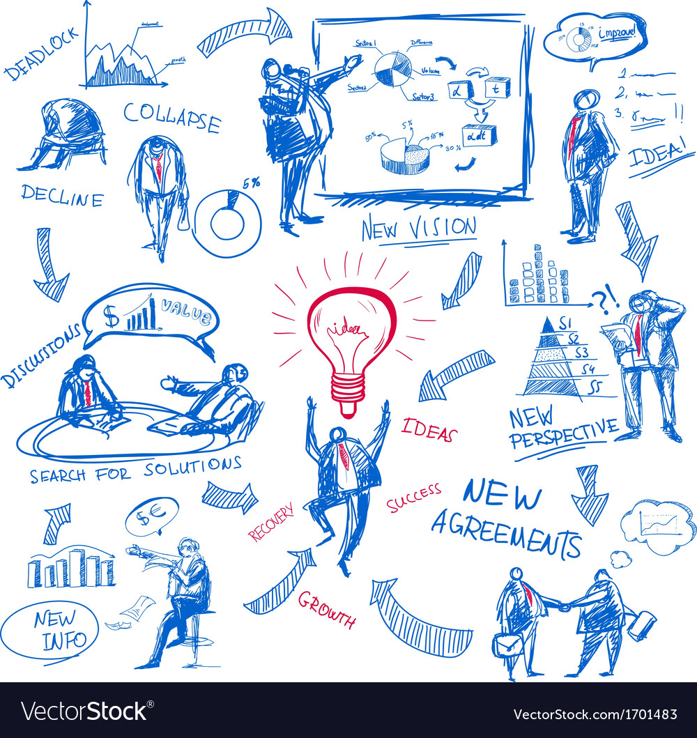 Doodle management vector image