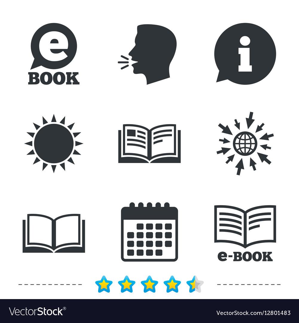 Electronic book signs E-Book symbols Royalty Free Vector