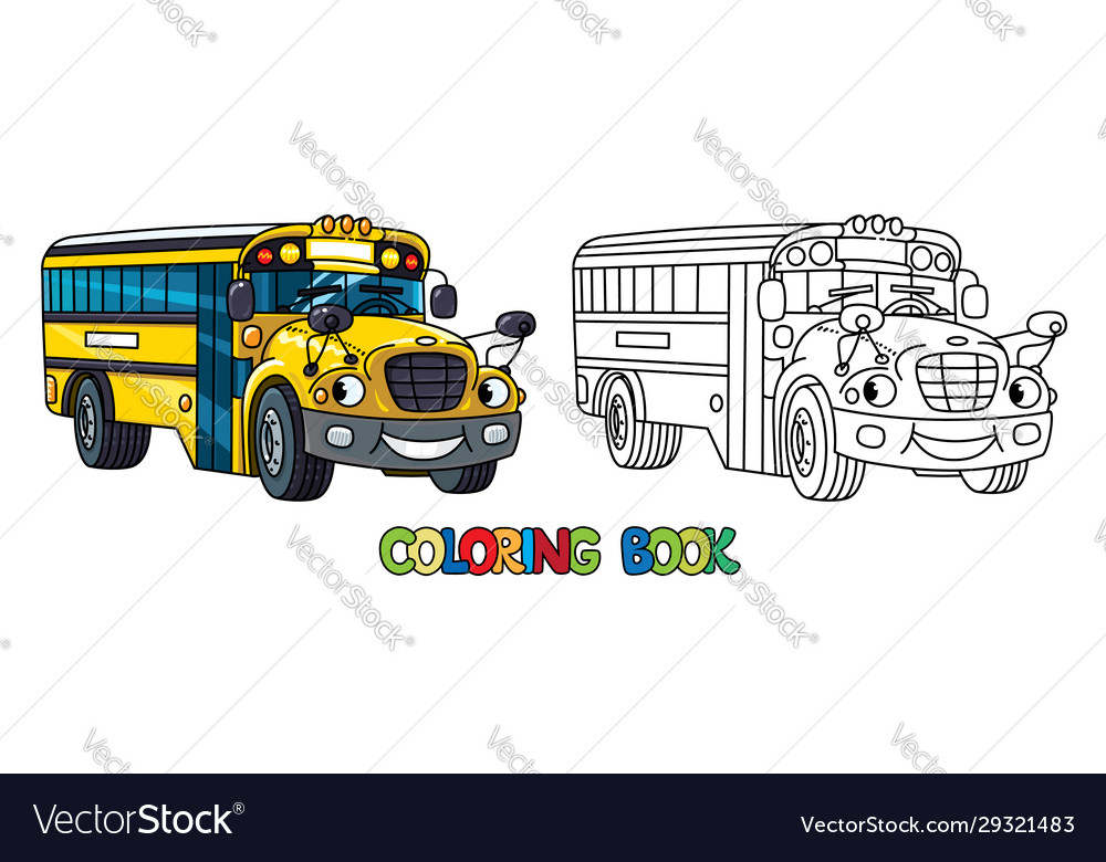 - Funny Small School Bus With Eyes Coloring Book Vector Image