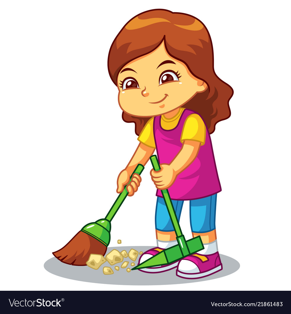 Girl clean up garbage with broom and dust pan