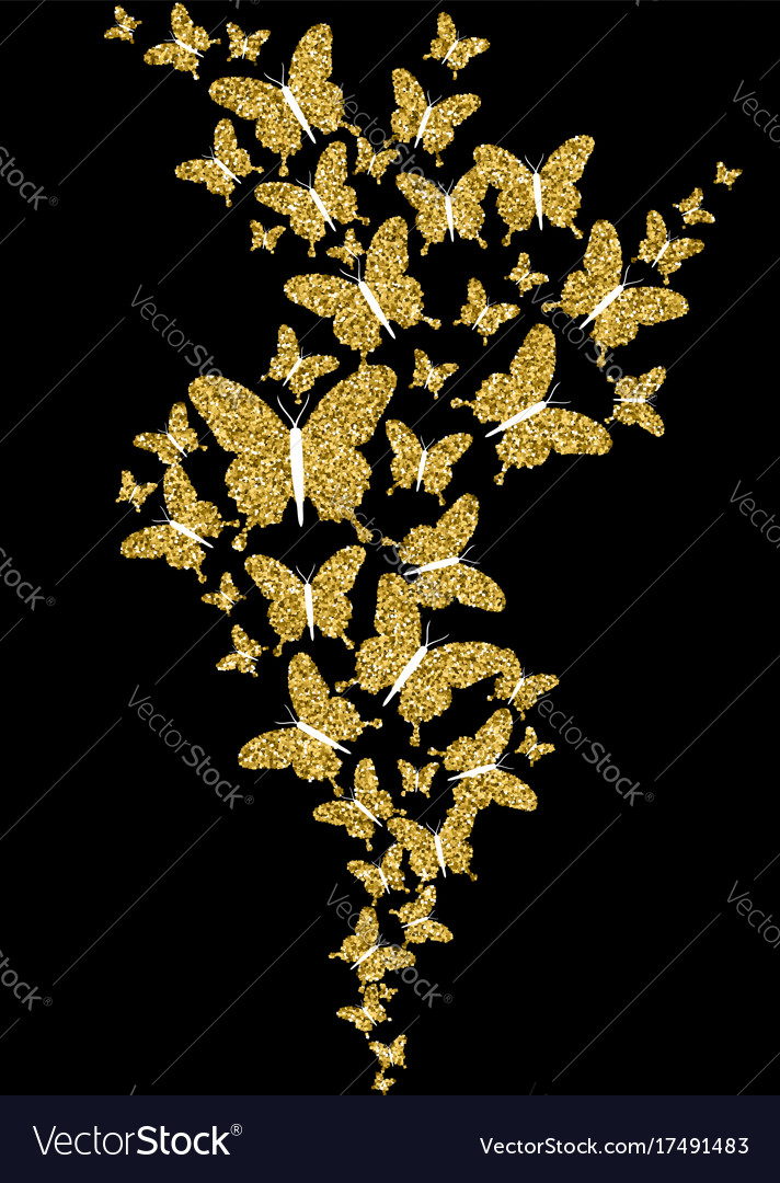 Gold glitter spring nature butterfly