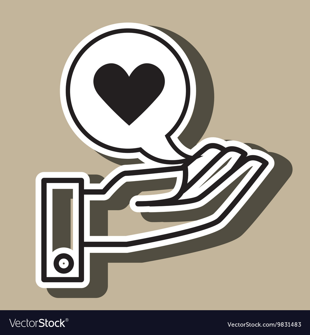 Hand and heart black isolated icon design