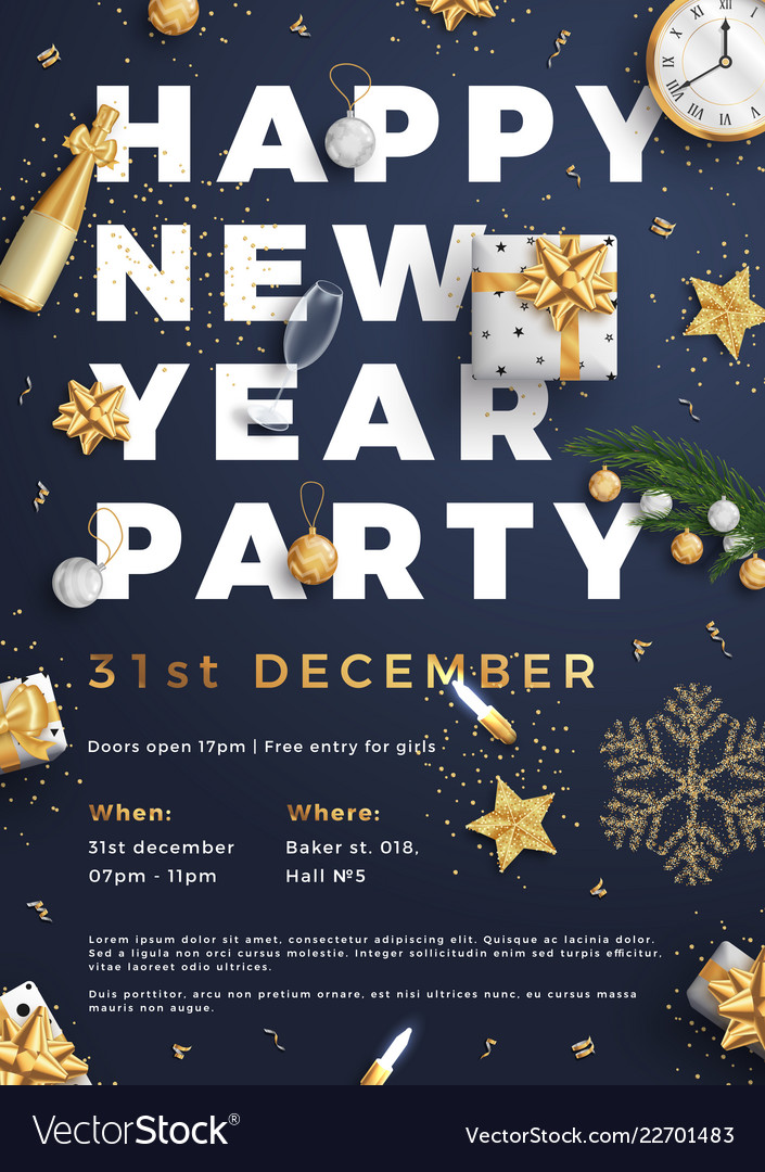 Happy new year party layout poster poster or flyer