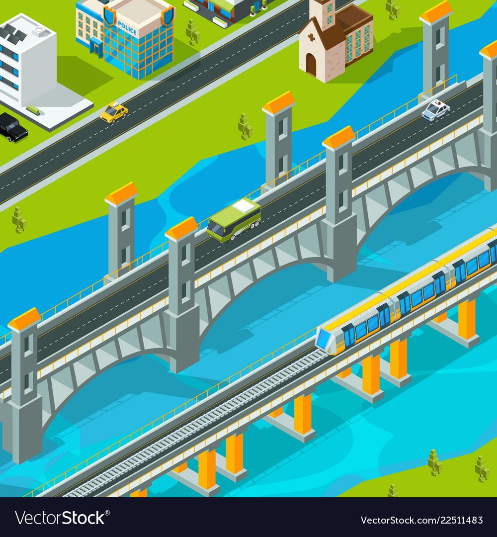 Town bridge landscape building footbridge