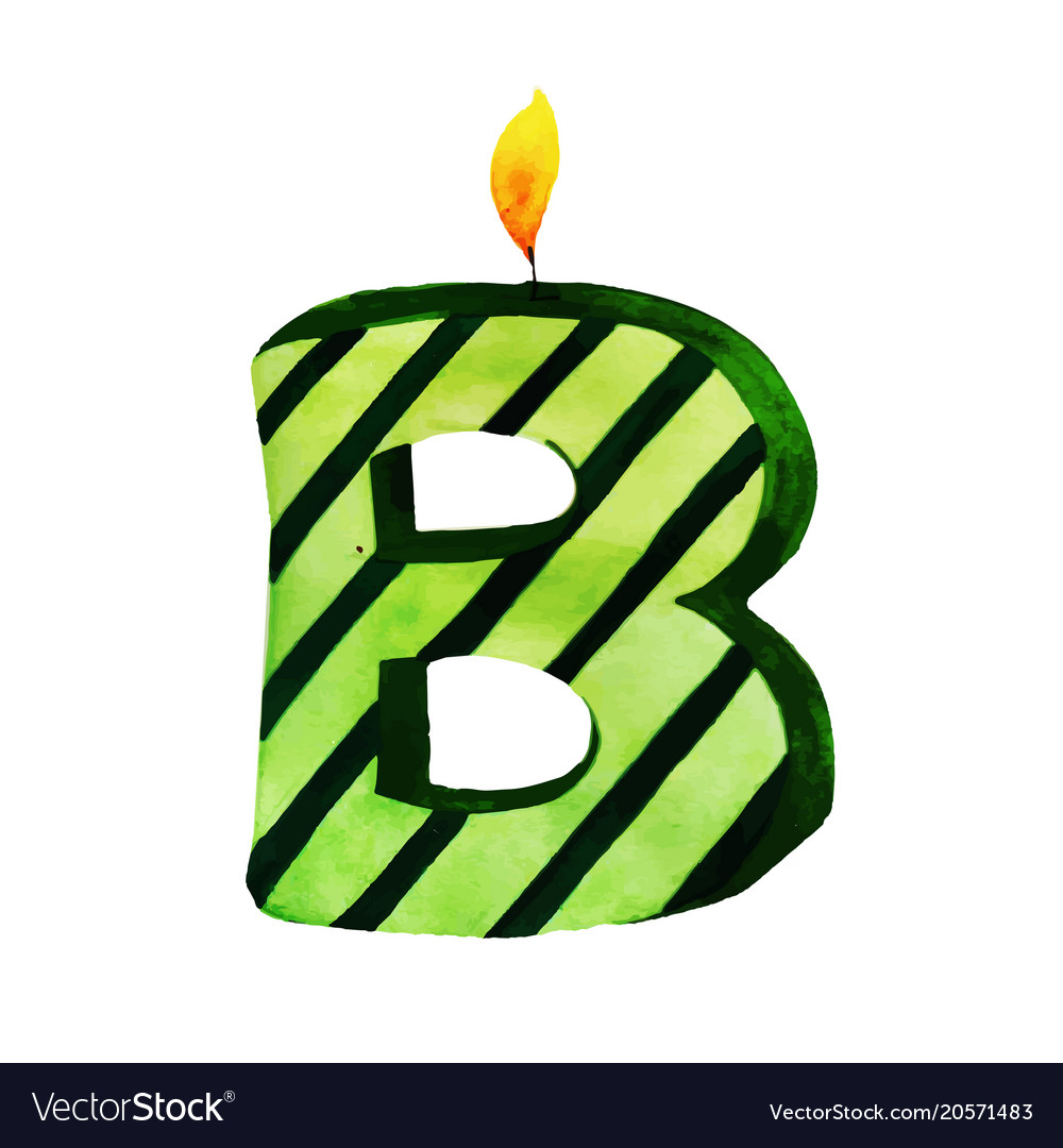 watercolor happy birthday letter b candle vector image