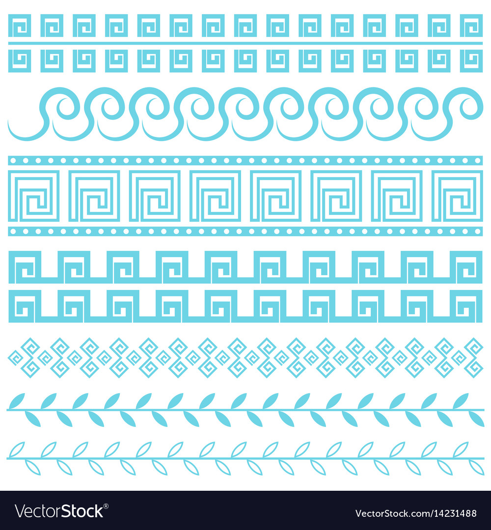 Antique greek border blue line