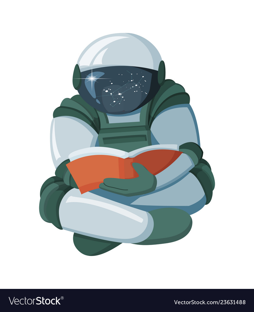 Cartoon floating astronaut reading a book in space