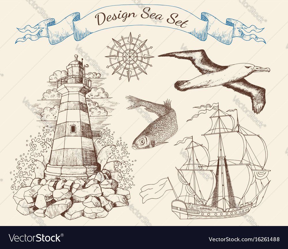 Design set with marine objects vector image